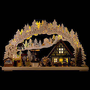Candle Arches Fret Saw Work 3D Candle Arch - 'Setting Up the Christmas Market' - 72x43 cm / 28x17 inch