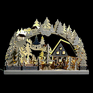 Candle Arches Fret Saw Work 3D Candle Arch - Striezel Children and Fir Trees - 42x30 cm / 17x12 inch