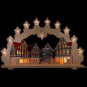 Schwibbögen Laubsägearbeiten 3D-Doppelschwibbogen Altstadt - LED - 66x41x6 cm