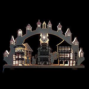 Schwibbögen Laubsägearbeiten 3D-Doppelschwibbogen Altstadt mit Innenbeleuchtung - 66x43x6 cm