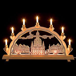 Schwibbögen Laubsägearbeiten 3D-Doppelschwibbogen Dresdner Frauenkirche - 50x32 cm