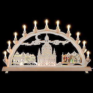 Schwibbögen Laubsägearbeiten 3D-Doppelschwibbogen Dresdner Frauenkirche mit Kutsche und Figuren - 68x35 cm