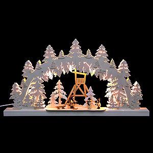 Schwibbögen Laubsägearbeiten 3D-Doppelschwibbogen Jägerstand - 62x33x5,5 cm