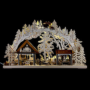 Schwibbögen Laubsägearbeiten 3D-Doppelschwibbogen Kunsthandwerkerhaus - 72x43 cm