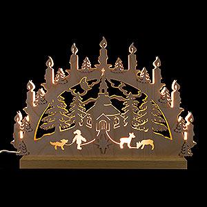 Schwibbögen Laubsägearbeiten 3D-Doppelschwibbogen Seiffener Kirche - 42x30x4,5 cm