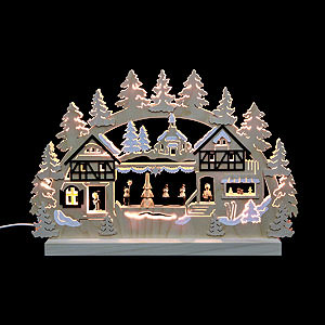 Schwibbögen Laubsägearbeiten 3D-Doppelschwibbogen Seiffener Weihnachtsmarkt - 42x30x4,5 cm