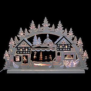 Schwibbögen Laubsägearbeiten 3D-Doppelschwibbogen Seiffener Weihnachtsmarkt - 74x47x5,5 cm