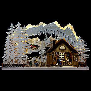 Schwibbögen Laubsägearbeiten 3D-Doppelschwibbogen Skihütte - 72x43x8 cm