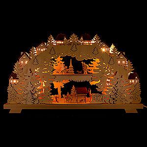Schwibbögen Mit Innenbeleuchtung 3D-Doppelschwibbogen Wald mit Rehen und Förster - 70x38 cm