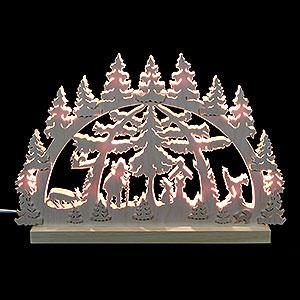Schwibbögen Laubsägearbeiten 3D-Doppelschwibbogen Waldmotiv - 42x30x4,5 cm