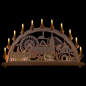 Candle Arches Fret Saw Work 3D Double Arch - Annaberg Fair - 68x35 cm / 26.8x13.8 inch