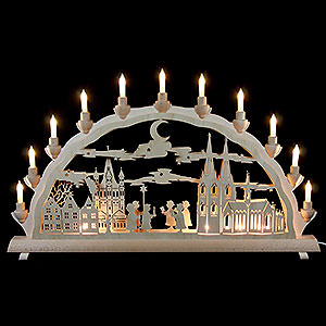 Candle Arches Fret Saw Work 3D Double Arch - Cologne Cathedral with Carolers - 68x35 cm / 27.8x13.8 inch