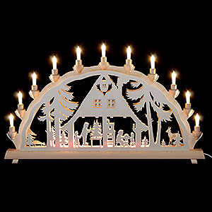 Candle Arches Fret Saw Work 3D Double Arch - Forest House - 68x35 cm / 27x14 inch