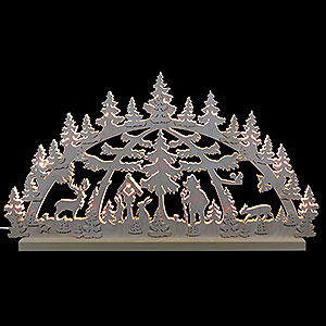 Candle Arches Fret Saw Work 3D Double Arch - Forest Scene - 72x40x5,5 cm / 28x16x2 inch
