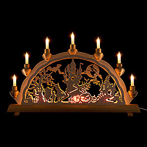 Candle Arches Fret Saw Work 3D Double Arch - Halloween Haunted Castle - 50x32 cm / 19.7x12.6 inch