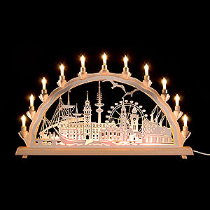 Candle Arches Fret Saw Work 3D Double Arch - Hamburg - 68x35cm/27.8x13.8 inch