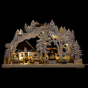 Candle Arches Fret Saw Work 3D Double Arch - Handicrafts from the Ore Mountains with White Frost - 72x43 cm / 28x17 inch