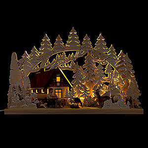 Candle Arches Fret Saw Work 3D Double Arch - Mountain Cabin with Carver - 62x40 cm / 24x16 inch