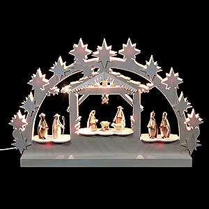 Candle Arches Fret Saw Work 3D Double Arch - Nativity - 42x30x4,5 cm / 16x12x2 inch