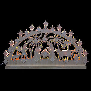 Candle Arches Fret Saw Work 3D Double Arch - Nativity Motif - 72x40x5,5 cm / 28x16x2 inch