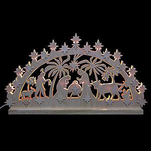 Candle Arches Fret Saw Work 3D Double Arch - Nativity Motif - 72x40x5,5 cm / 28x16x2 inch