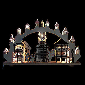 Candle Arches Fret Saw Work 3D Double Arch - Old Downtown Illuminated - 66x43x6 cm / 26x2,5x17 inch