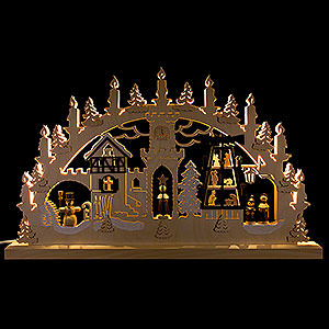 Candle Arches Fret Saw Work 3D Double Arch - Pyramid Singers - 62x37x5,5 cm / 24x14x2 inch