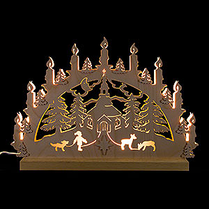 Candle Arches Fret Saw Work 3D Double Arch - Seiffen Church - 42x30x4,5 cm / 16x12x2 inch