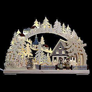 Candle Arches Fret Saw Work 3D Double Arch - Seiffen in Winter - 44x29x7 cm / 17x11x3 inch