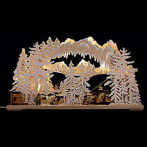 Candle Arches Fret Saw Work 3D Double Arch - Ski Station with White Frost - 72x43 cm / 28x17 inch