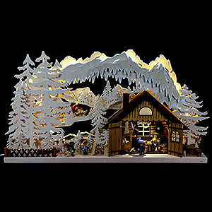 Candle Arches Fret Saw Work 3D Double Arch - Skiing Cabin - 72x43x8 cm / 28x17x3 inch
