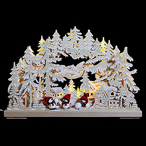 Candle Arches Fret Saw Work 3D Double Arch - Snowball Fight with White Frost - 43x30x7 cm / 17x12x3 inch