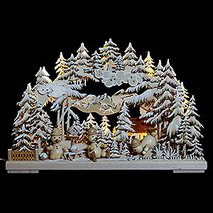 Candle Arches Fret Saw Work 3D Double Arch - Snowman's Paradise with White Frost - 43x30x7 cm / 17x12x3 inch