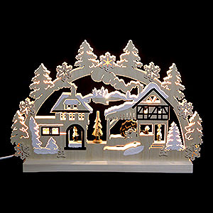 Candle Arches Fret Saw Work 3D Double Arch - Water Mill - 42x30x4,5 cm / 16x12x2 inch