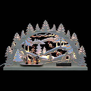 Candle Arches Fret Saw Work 3D Double Arch - Winter Countryside - 62x37x5,5 cm / 24x14x2 inch