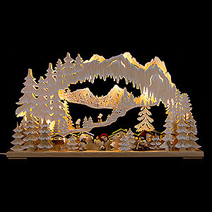 Candle Arches Fret Saw Work 3D Double Arch - Wintersport with Snowmollis and White Frost - 72x43 cm / 28x17 inch