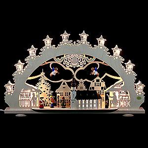 Schwibbögen Laubsägearbeiten 3D-Lichterbogen Altstädter Weihnachtsmarkt - 66x40x11 cm