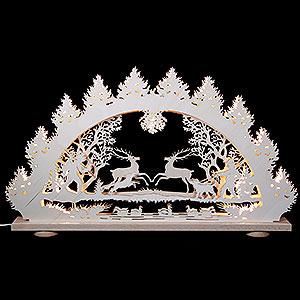 Schwibbögen Laubsägearbeiten 3D-Lichterbogen Springende Hirsche - 66x43x6 cm