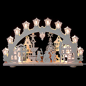 Candle Arches Fret Saw Work 3D Light Arch - City in Winter - 66x40x6 cm / 2.4 inch