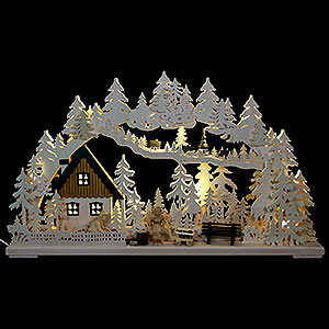 Schwibbögen Laubsägearbeiten 3D-Schwibbogen Altseiffener Handwerk mit geschnitzten Figuren - 72x43x8 cm