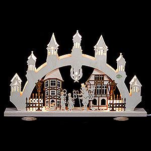 Schwibbögen Laubsägearbeiten 3D-Schwibbogen Altstadt - 47x31x6 cm