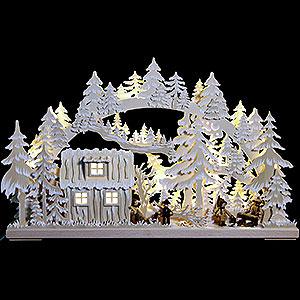 Schwibbögen Laubsägearbeiten 3D-Schwibbogen Blockhütte mit Waldarbeitern und Raureif - 62x38x8 cm