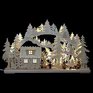 Schwibbögen Laubsägearbeiten 3D-Schwibbogen Blockhütte mit Waldarbeitern - 62x38x8 cm