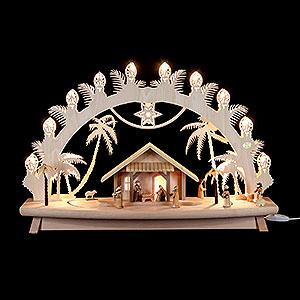 Schwibbögen Laubsägearbeiten 3D-Schwibbogen Christi Geburt mit beweglichen Figuren - 68x43x16 cm