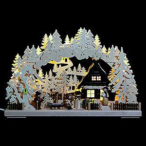 Schwibbögen Laubsägearbeiten 3D-Schwibbogen Familienglück - 43x30x7 cm