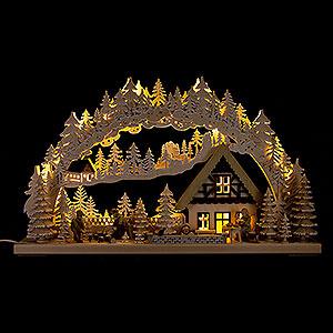 Schwibbögen Laubsägearbeiten 3D-Schwibbogen Holzfäller mit Raureif - 72x43 cm