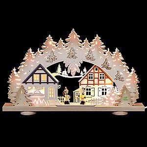 Schwibbögen Laubsägearbeiten 3D-Schwibbogen Kinder im Dorf - 52x31,5x6 cm