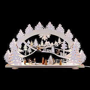 Schwibbögen Laubsägearbeiten 3D-Schwibbogen Kinder im Schnee - 66x40x8,5 cm