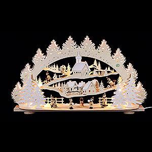 Schwibbögen Laubsägearbeiten 3D-Schwibbogen Kinder im Winterdorf - 66x40x11,5 cm
