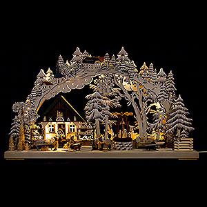 Schwibbögen Laubsägearbeiten 3D-Schwibbogen Kunsthandwerk aus dem Erzgebirge mit Raureif - 72x43 cm